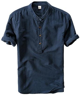 581e688f120 utcoco Men s Retro Chinese Style Short Sleeve Linen Henley Shirts (X-Small