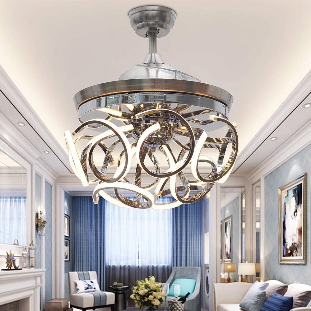 TiptonLight Ceiling Fan with Lights Hotel living Room 42 Inch LED Ceiling Fans Retractable Blades Modern Crystal Chandelier Fan with 3 Changing Colors for Bedroom
