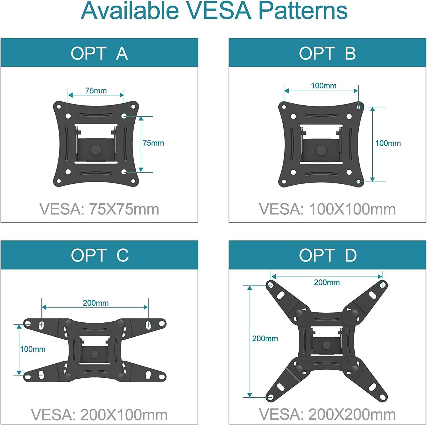 EVERVIEW Full Motion TV Monitor Wall Mount Bracket Articulating Arms Swivel Tilt Extension Rotation for Most 13-40 Inch LED LCD Flat Curved Screen Monitors & TVs, Max VESA 200x200mm up to 44lbs