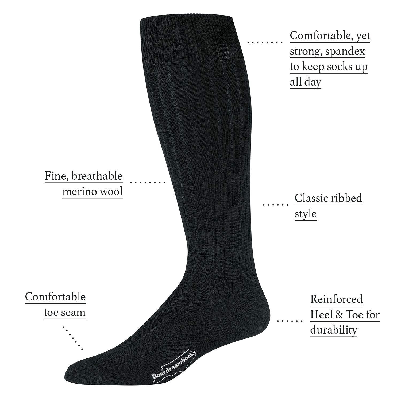 04db41673ba6 Boardroom Socks Men's Merino Wool Over-the-Calf Ribbed Dress Socks (Black):  Amazon.ca: Clothing & Accessories