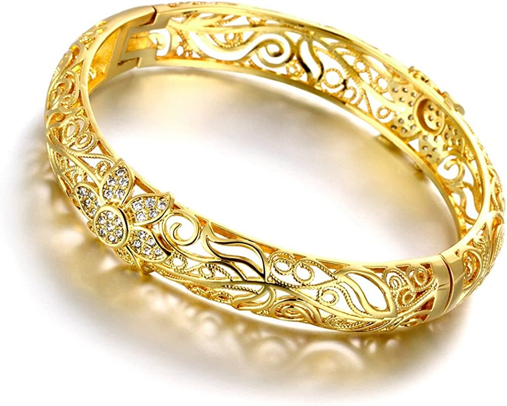 Leadyoung 18K Yellow Gold Plated Flower Filigree Bangle Bracelets Fashion Jewellery
