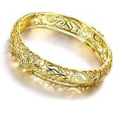 Bracciale rigido in filigrana, placcato in oro 18 carati, motivo: fiorellini