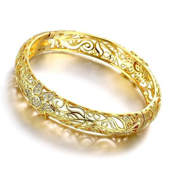 5 opinioni per Bracciale rigido in filigrana, placcato in oro 18 carati, motivo: fiorellini