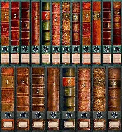 Etiquettes /à design pour 20 classeurs A4 8 /à dos large 12 /à dos mince Motif Folio en collection de a-m-w-shop File Art