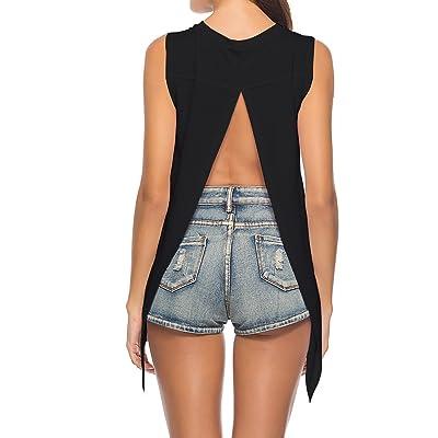 a268db2cf594 Duppoly Summer Sleeveless Open Back Knot Shirts Casual Sport Wear Workout  Tank Tops