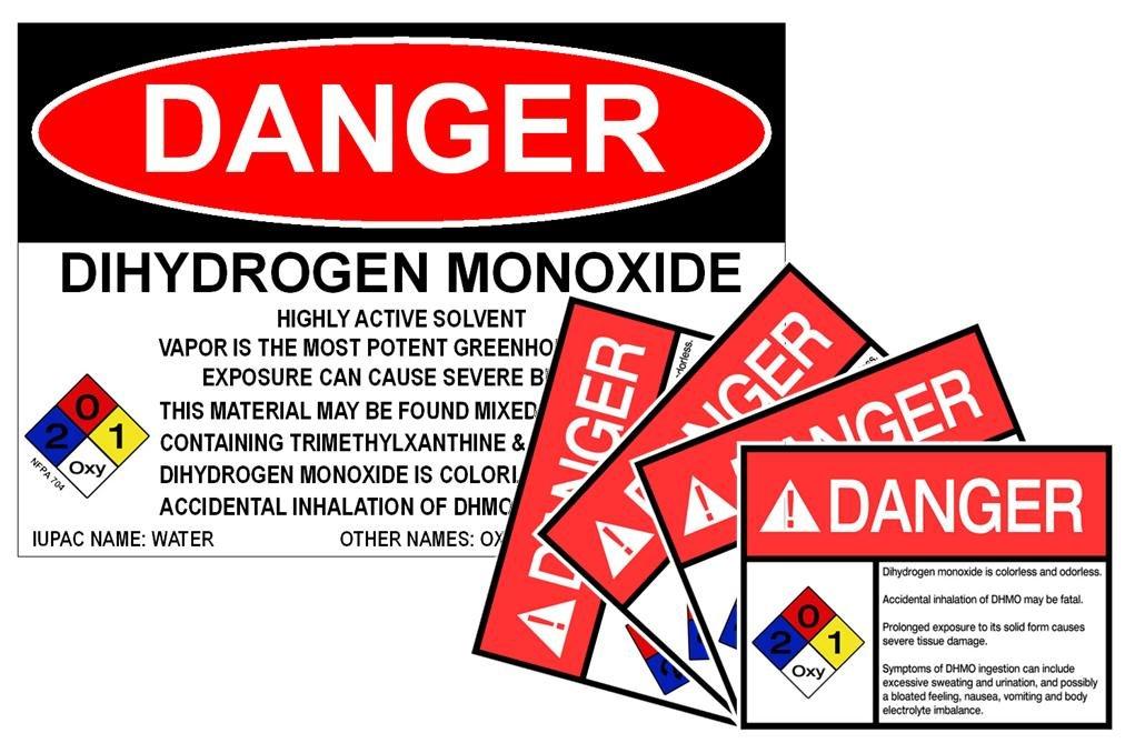 42f6b2acd5 Amazon.com: DHMO Dihydrogen Monoxide Warning Sign & Sticker Set: Kitchen &  Dining