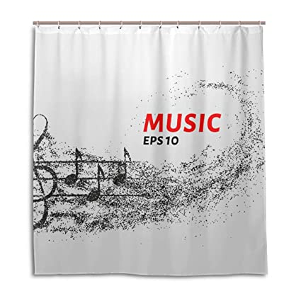 Image Unavailable Not Available For Color AMONKA Shower Curtain Music Note