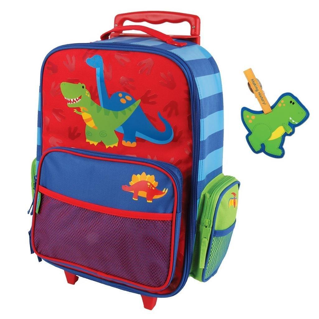 Stephen Joseph Rolling Luggage and Name Tag Set, Dinosaur