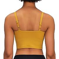 Lavento Women's Longline Sports Bra Yoga Cami Tank Top with Built in Bra