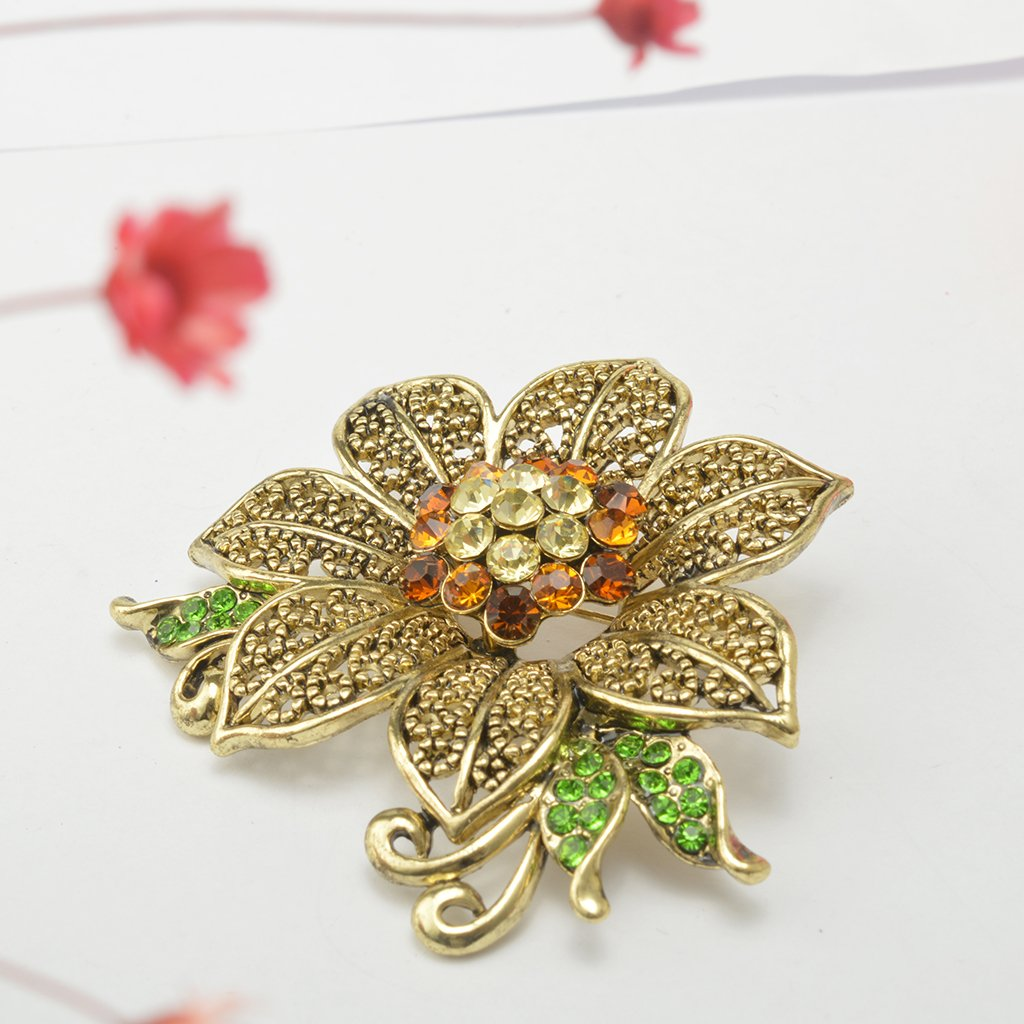 MonkeyJack Fashion Retro Elegant Crystal Flower Costume Brooch Pin Women Lady Jewellery