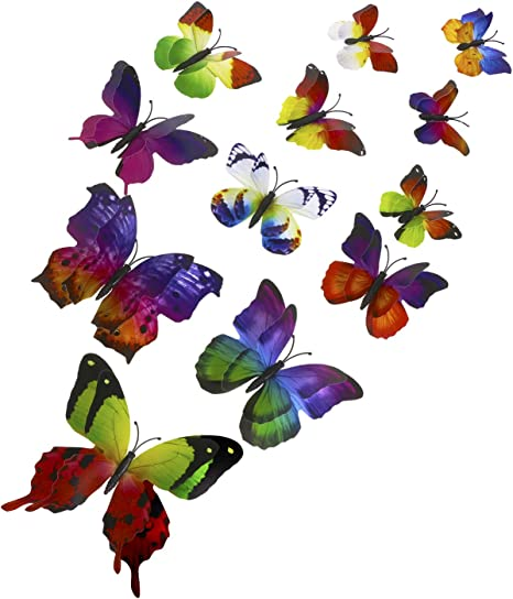 12 pcs 3D Butterfly Wall Stickers Art Decals DIY Home Any Room Decoration Kids