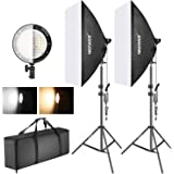 Neewer Photography Bi-color Dimmable LED Softbox Lighting Kit:20x27 inches Studio Softbox, 45W Dimmable LED Light Head with 2 Color Temperature and Light Stand for Photo Studio Portrait,Video Shooting