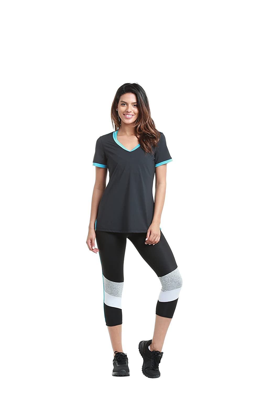15756 Women Shirt Black//Turquoise Tennis Net on Back Casual Gym Yoga Classic