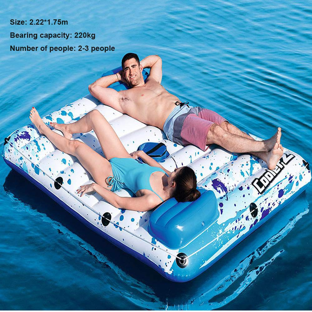 9 6-10 People Oversized Inflatable Floating Island Inflatable Toys, Floating Family for Marine Drifting Water Float Toys, Sunshade Floating Bed, Family Party Toys - 3.89  2.74m