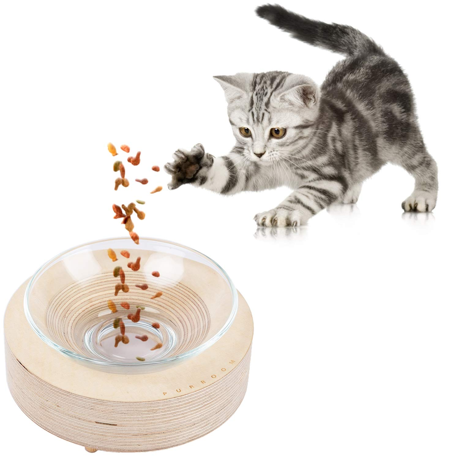 PURROMM Wooden round table for little cats dogs gift for pets Environmentally friendly tempered glass bowl