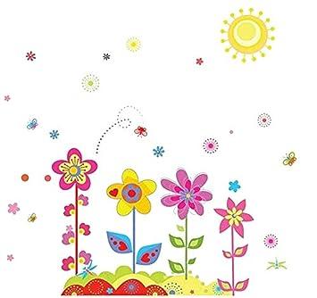 EmmiJules Wandtattoo bunte Blumen Kinderzimmer Sommer Vogel ...