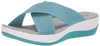 5c608543d CLARKS Women s Arla Elin Slide Sandal Aqua Elastic Fabric 050 ...