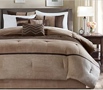 7 Piece Stripe Embroidered Design Comforter Set King Size, Featuring Solid  Reverse Stripe Horizontal Vertical
