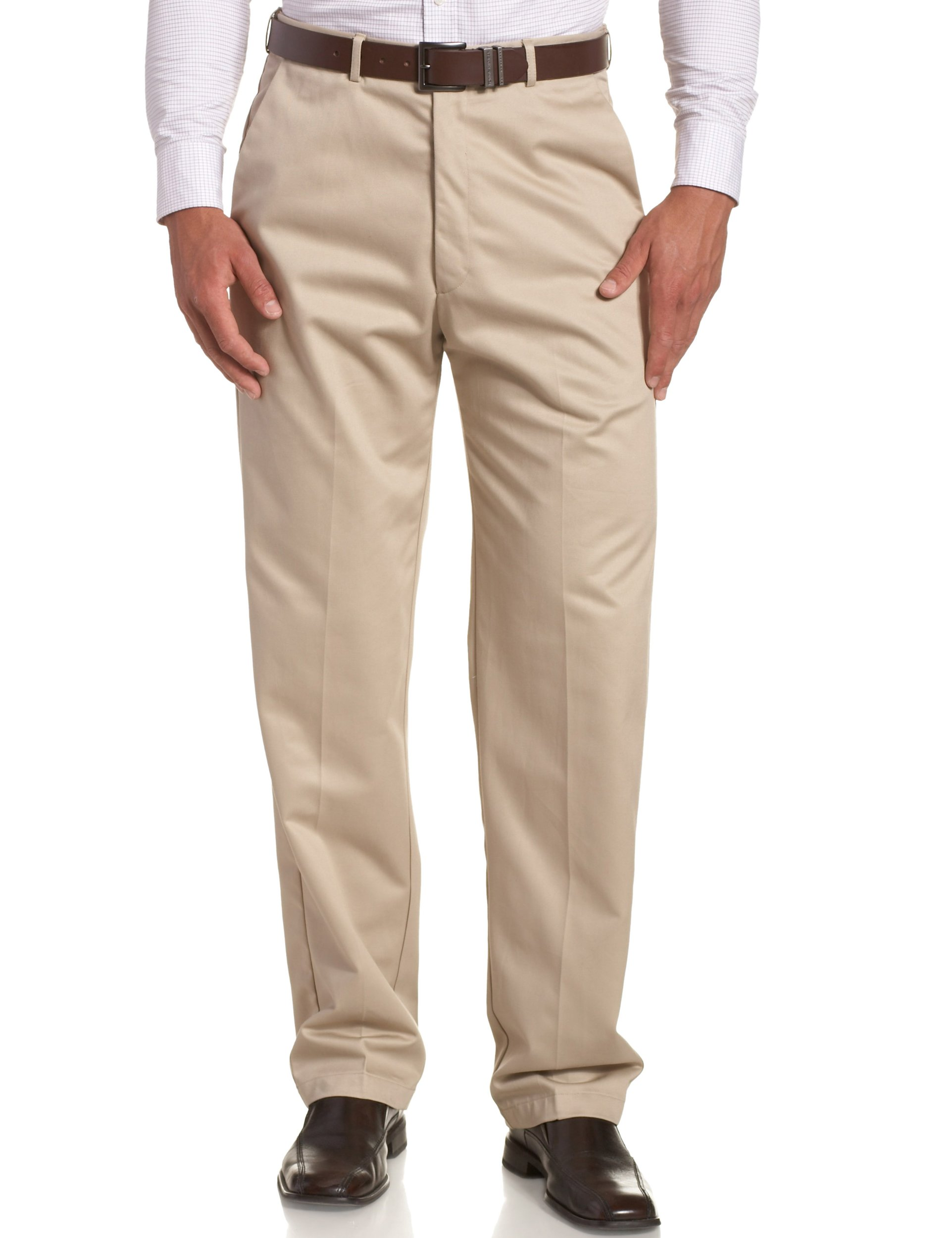 Haggar Men's Work To Weekend Hidden Expandable Waist No Iron Plain Front Pant,Khaki,40x30 by Haggar
