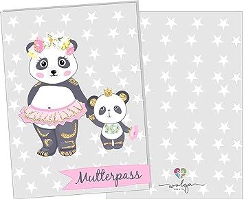 ohne Namen wolga-kreativ Mutterpassh/ülle Panda s/ü/ß 3-teilig Schwangerschaft Geschenk Idee Umschlag
