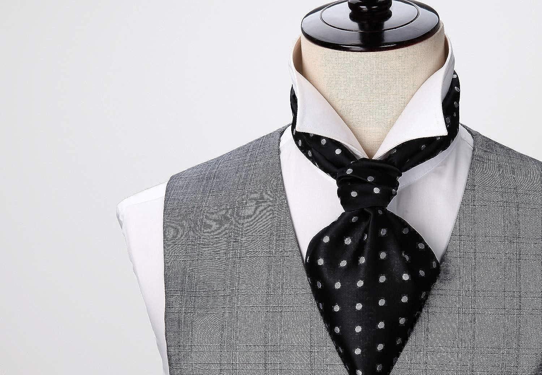 cac3a7933a12 Amazon.com: HISDERN Men's Ascot Polka Dot Jacquard Woven Gift Cravat Tie  and Pocket Square Set: Clothing