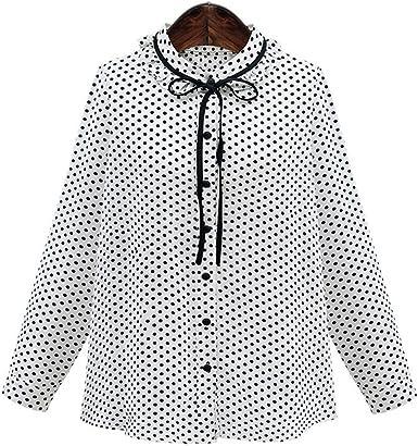Haroty Las Mujeres Camisa de Lunares Blusas de Polka dot Slim ...