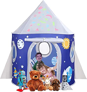Oferta amazon: Tienda Infantil Rocket Cabaña Infantil con Estrellas Castillo Casita Infantil para Interiores y Exteriores Pop up portátil Tienda con Bolsa de Transporte para Niñas Niño