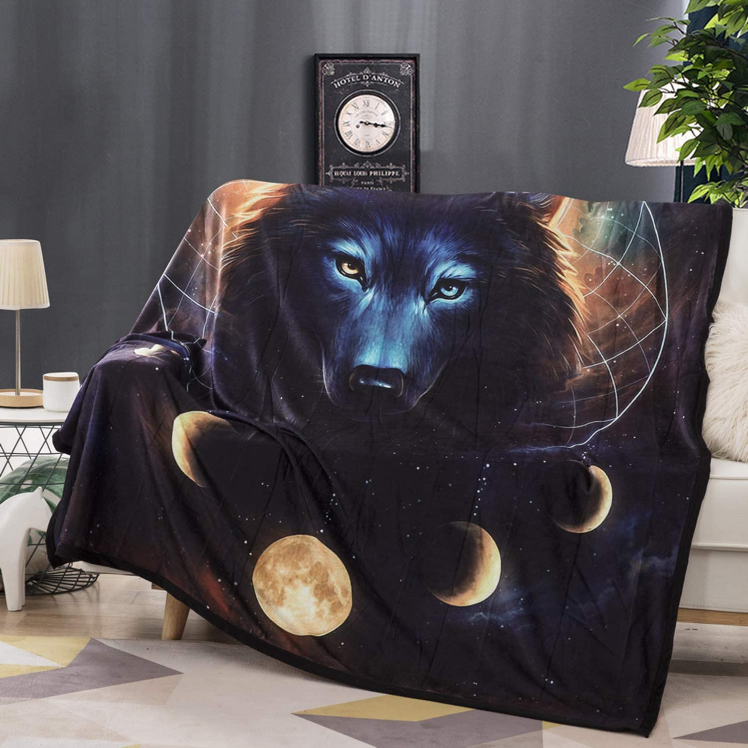 Felu Flannel Fleece Blanket Luxury 3D Black Wolf Dream Catcher Printed Soft Cozy Lightweight Durable Plush Throw Blanket for Bedroom Living Rooms Sofa Couch