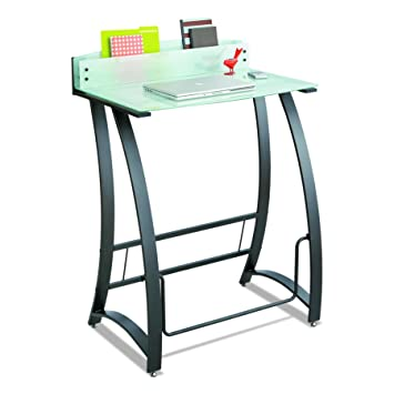 Safco Products 1941TG Xpressions Glass Top Stand Up Computer Workstation  Desk With Swinging Footrest Bar
