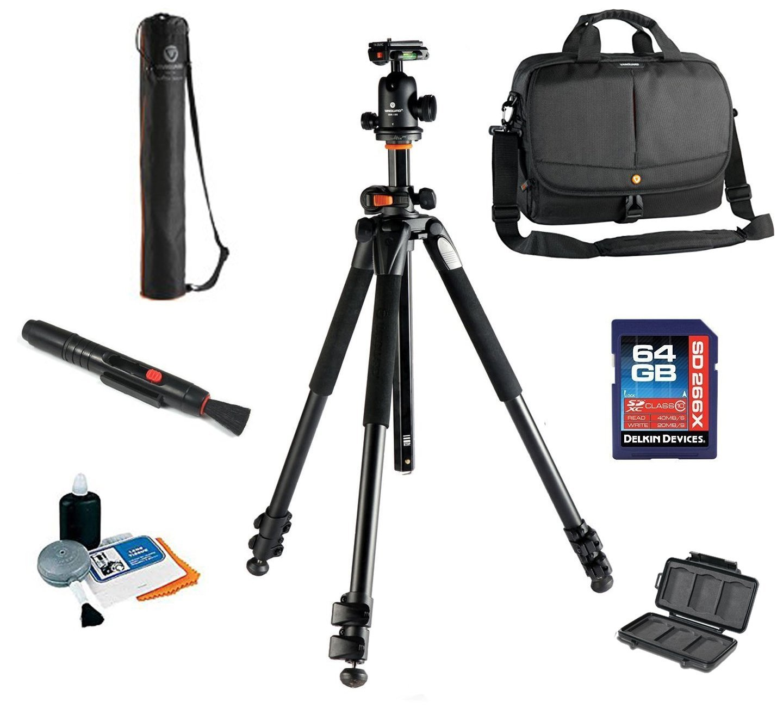Vanguard Alta Pro 263AB 100 Tripod W/ SBH 100 Ballhead + Vanguard 2GO 33 Bag ( COLOR MAY VARY) + Vanguard Tripod Case, 64GB SDXC Card, Cleaning Kit, Lens Pen, Memory Card Wallet