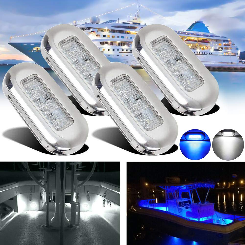 impermeables tama/ño 3 x 1.29 x 0.4 inch color blanco cubierta de 12 V escalera Yacht Garden 4 luces LED rectangulares de cortes/ía para barco znwiem para RV