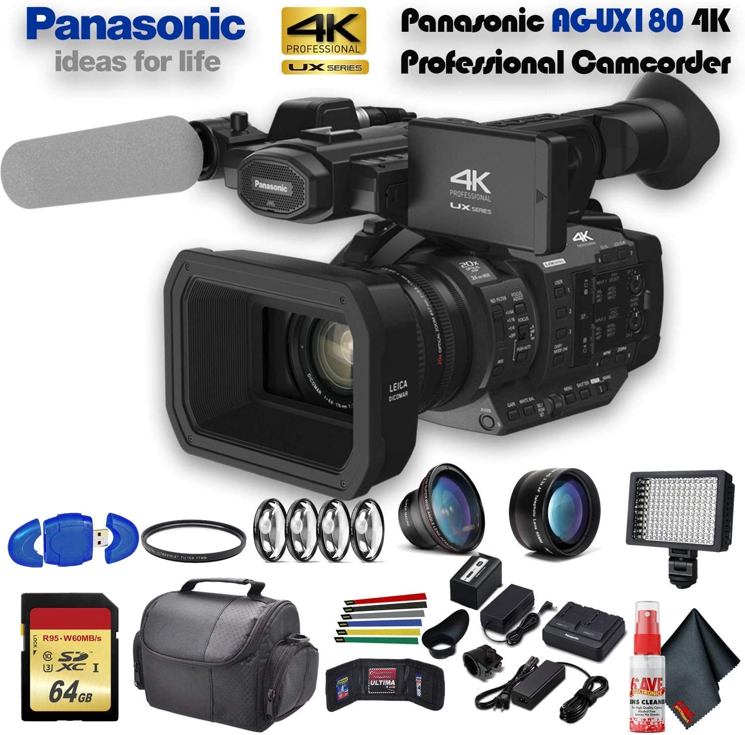 Amazon Com Panasonic Ag Ux180 4k Professional Camcorder Ag Ux180pj8 With Uv Filter Close Up Diopters Wide Angle Lens Tripod Padded Case Led Light 64gb Memory Card And More Advanced Bundle Electronics