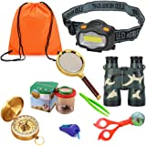 HomDSim 9 pack Outdoor Explorer Kit for Kids,Children Adventurer Exploration Equipment Set,LED Headlight,Fun Backyard Bug Catching Adventure Set,Camping,Hunting,Hiking & Bird Watching,Pretend Play …