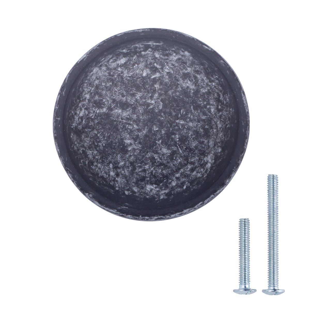 "AmazonBasics (AB300-AS-25) Mushroom Cabinet Knob, 1.19"" Diameter, Antique Silver, 25-Pack"