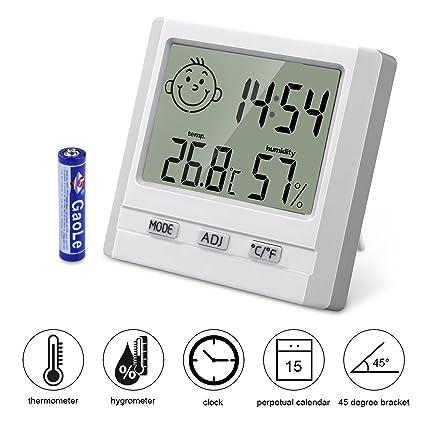 BONROB Termómetro Higrometro Digital, Despertador Digital Inteligente con Función de Alarma, Temperatura y Humedad