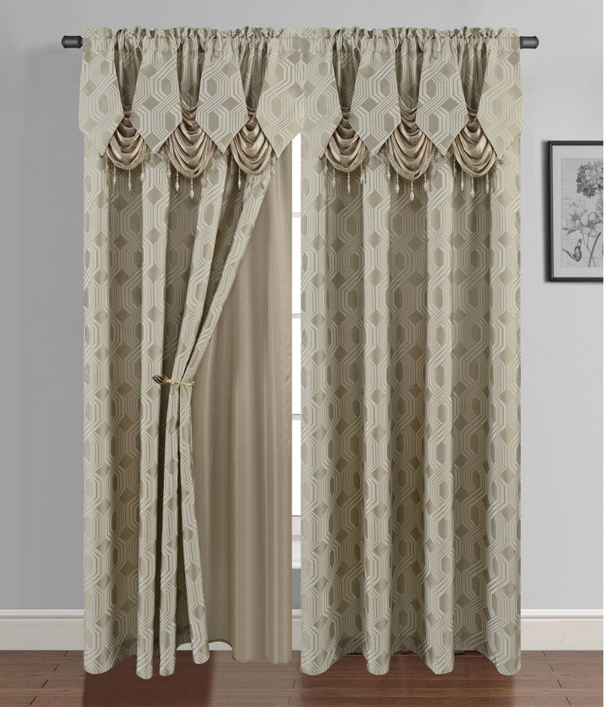 Golden Linen Luxury Curtain/Window Panel Set Ragad Collection 2pc Curtain Set with Attached Valance and Backing 55''X84'' Each (Light-Taupe) by Golden Rugs