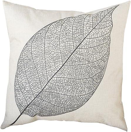 nikgic funda de cojín Algodón y lino funda de almohada grandes hojas pillow casos sofá cámara Carlos Décor 45 x 45 cm, mezcla de algodón, gris, 45 x 45 cm: Amazon.es: Hogar