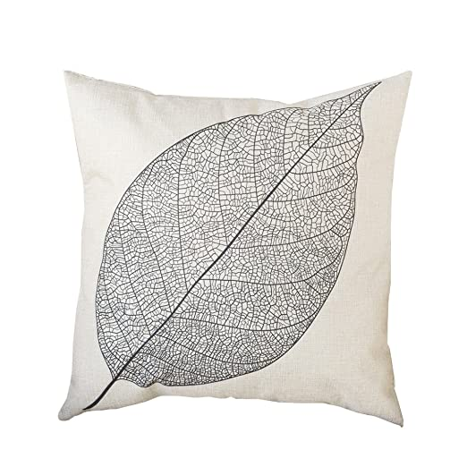 BIGBOBA patrón de lino Funda sofá almohada de una hoja otoño ...