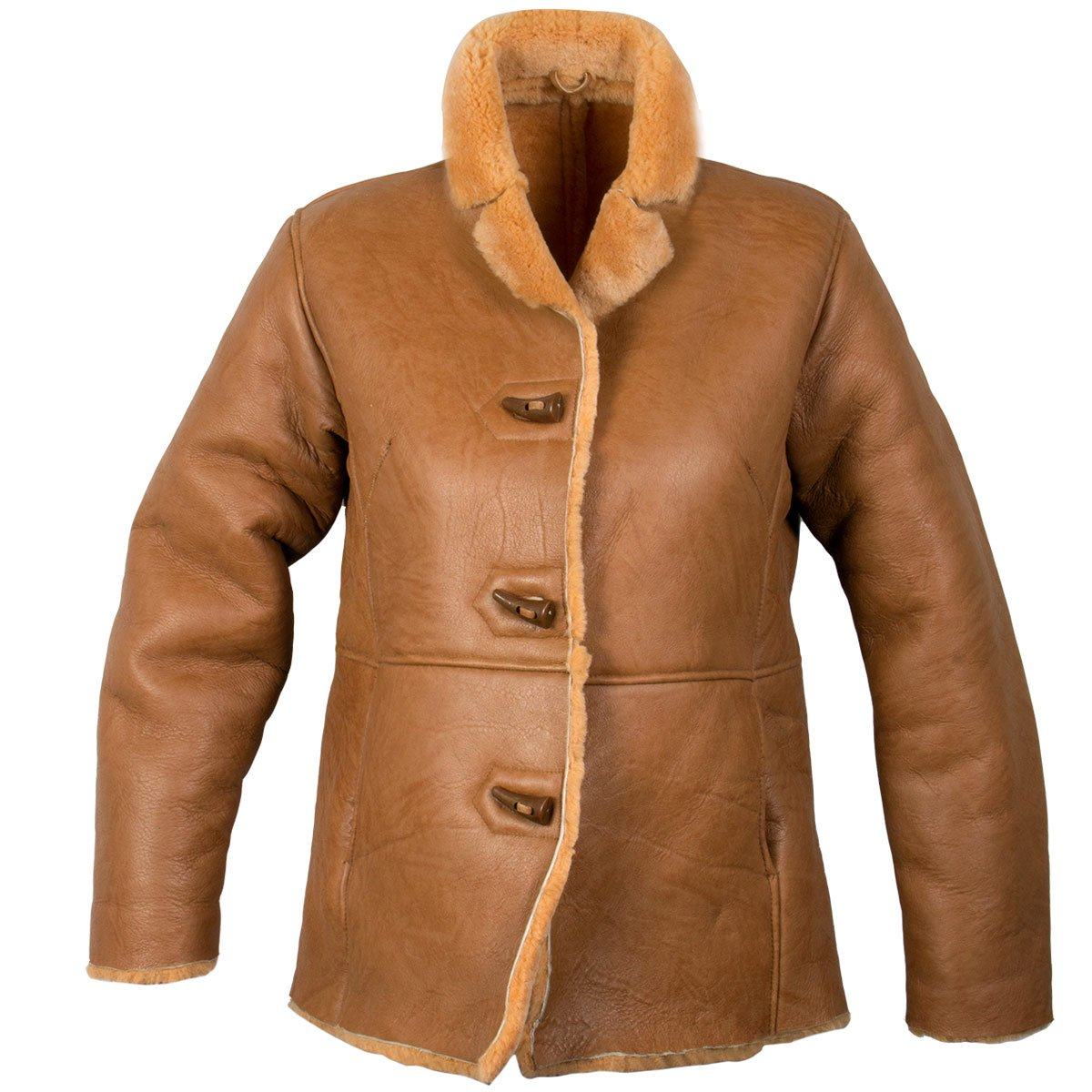 Ladies Lucky Leather 0021S Rusty Brown Color Short Shearling Coat - Large