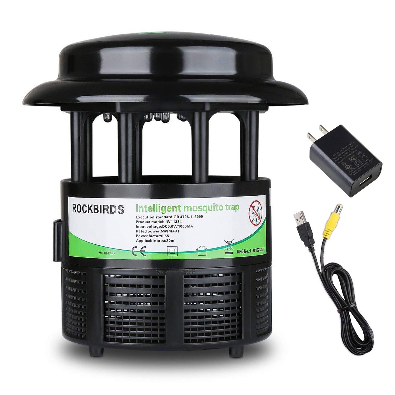 RockBirds Mosquito Killer and Bug Zapper, Indoor Electric Fly Trap, Killer Mosquitoes&Bug by LED Light, Non-chemical, Non-toxin, and Non-radiative.