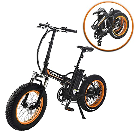 ONWAY Fat Electric Bike Ebike 20 Inch 350w 36v Electric Folding Bicycle Detachable Lithium Battery Adults