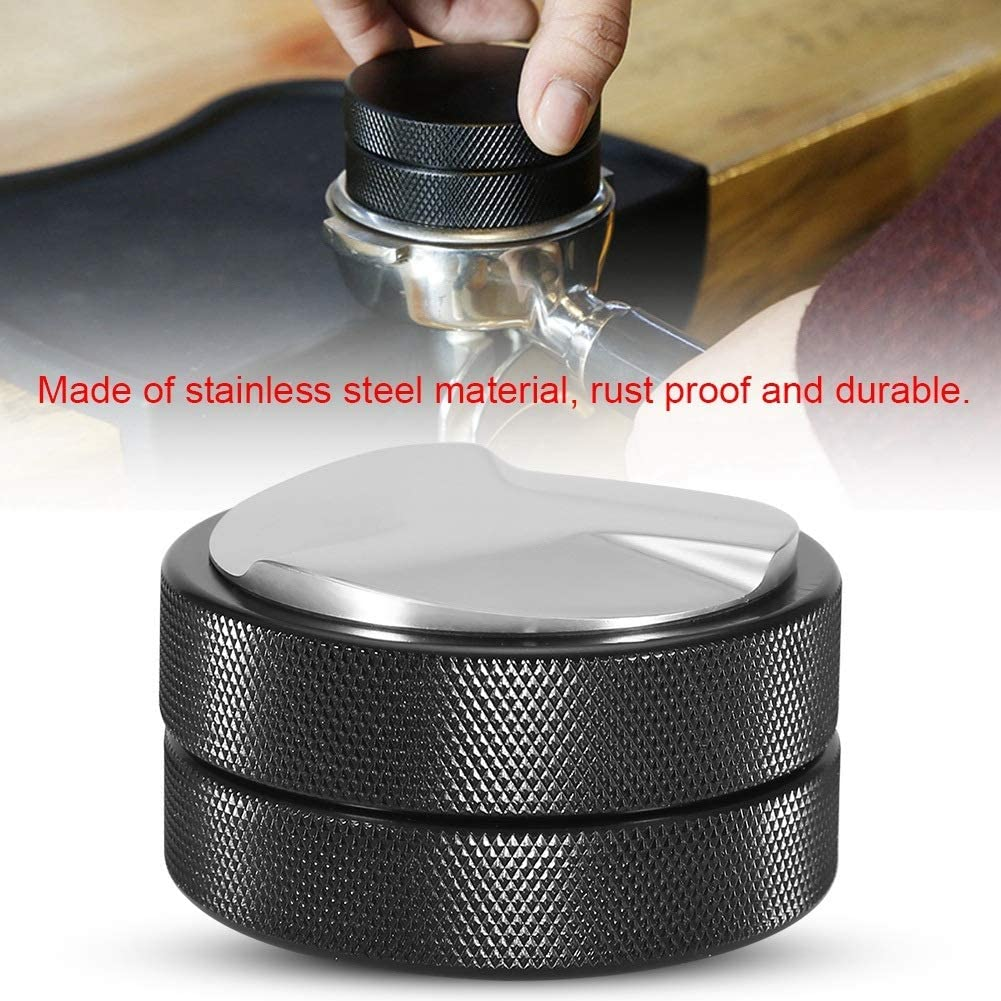 51mm Coffee Tamper Stainless Steel Rustproof Barista Espresso Tampers Coffee Bean Pressing Tool Solid Sturdy Base Espresso Distributor for Home DIY Cafe Supplies Thread Base