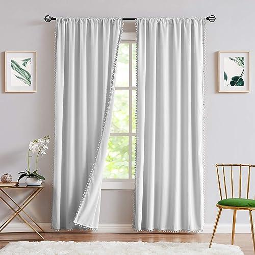 Treatmentex Pom-Pom Grey Velvet Curtain
