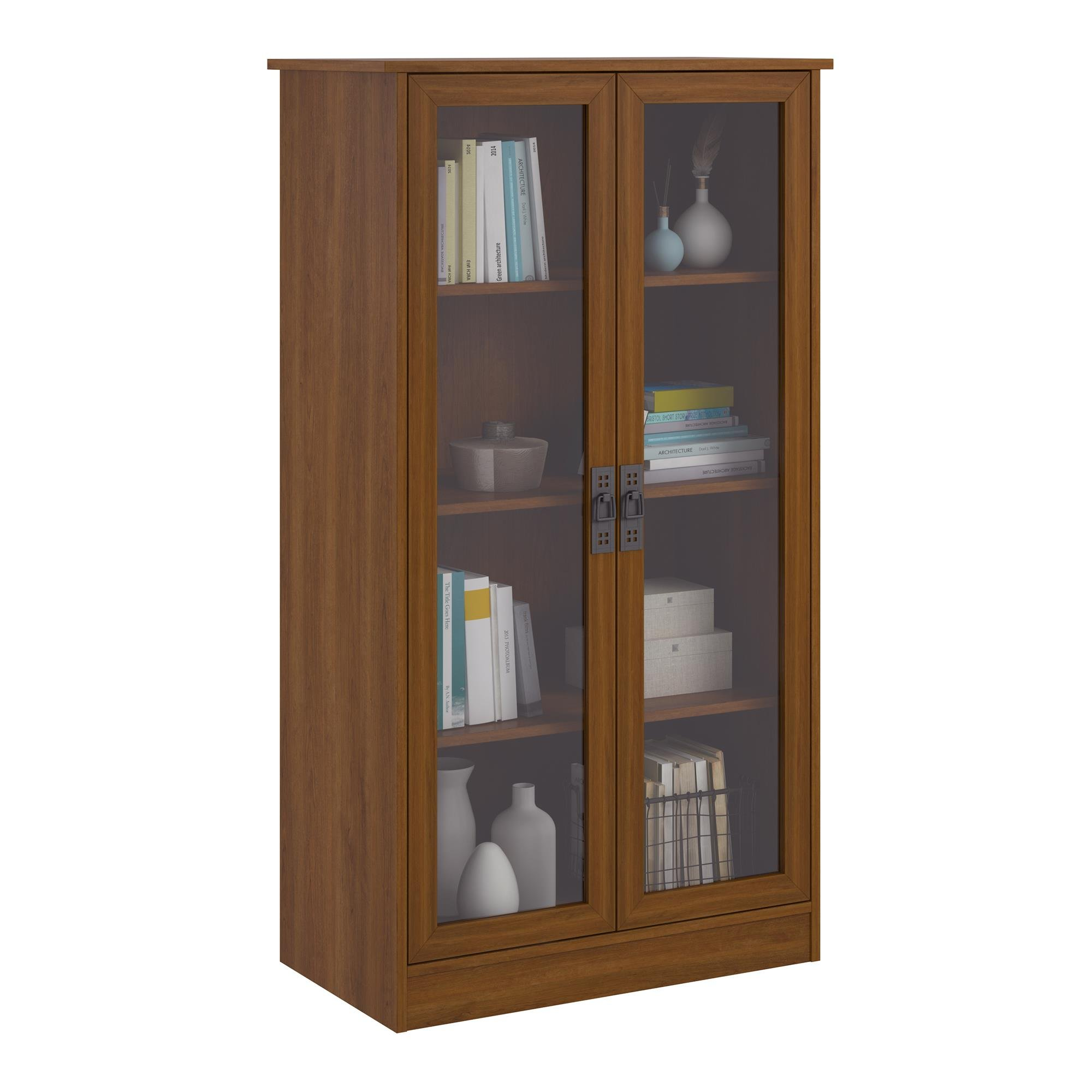 Ameriwood Home Quinton Point Bookcase with Glass Doors, Inspire Cherry by Ameriwood Home