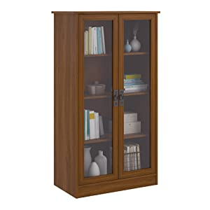 Ameriwood Home Quinton Point Bookcase with Glass Doors, Inspire Cherry