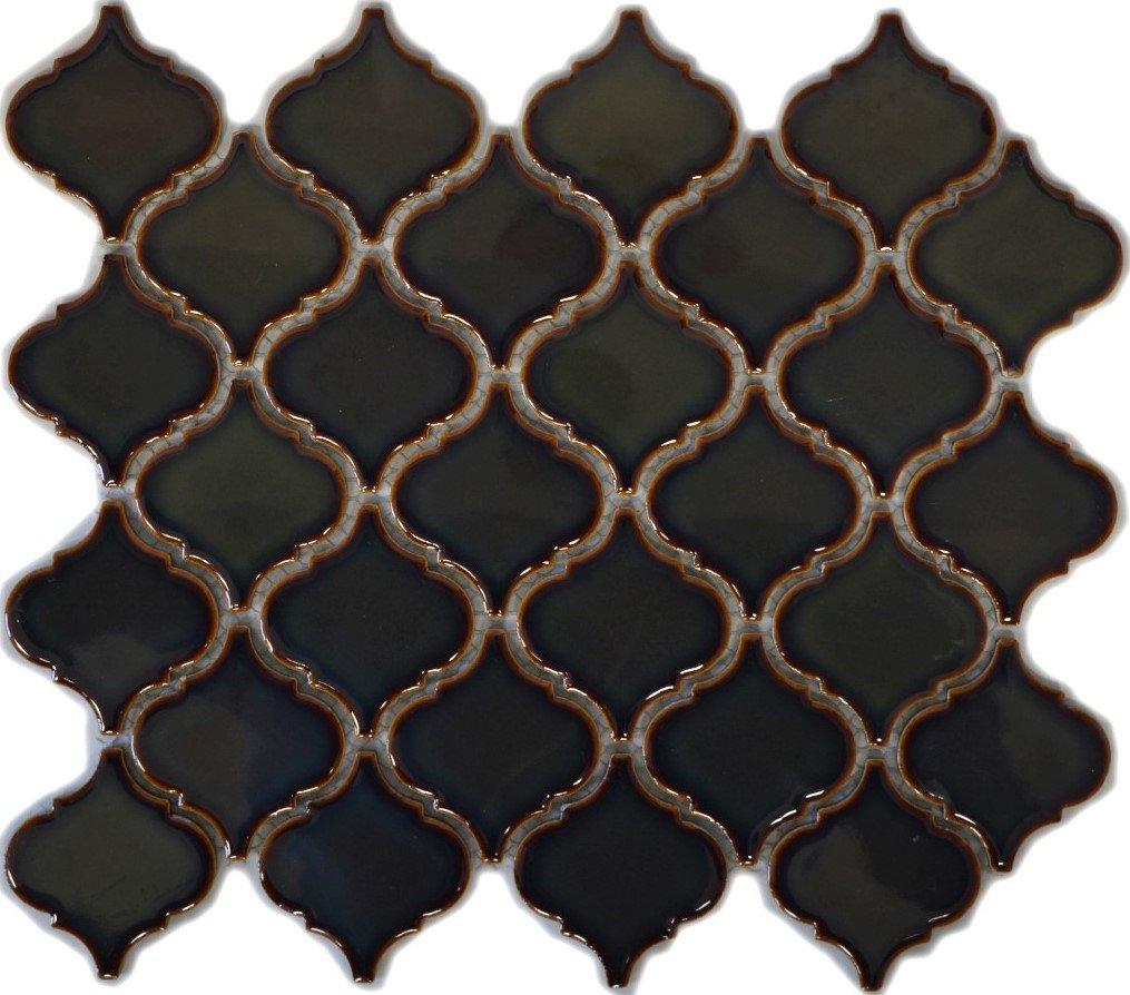 Retro Vintage Mosaik Fliese Keramik Florentiner altgr/ün gl/änzend f/ür WAND BAD WC DUSCHE K/ÜCHE FLIESENSPIEGEL THEKENVERKLEIDUNG BADEWANNENVERKLEIDUNG WB13-0508