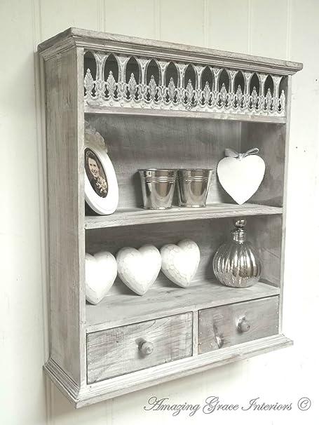 Home Decor Shabby Chic Wall Unit Shelf Storage Cupboard Cabinet ...