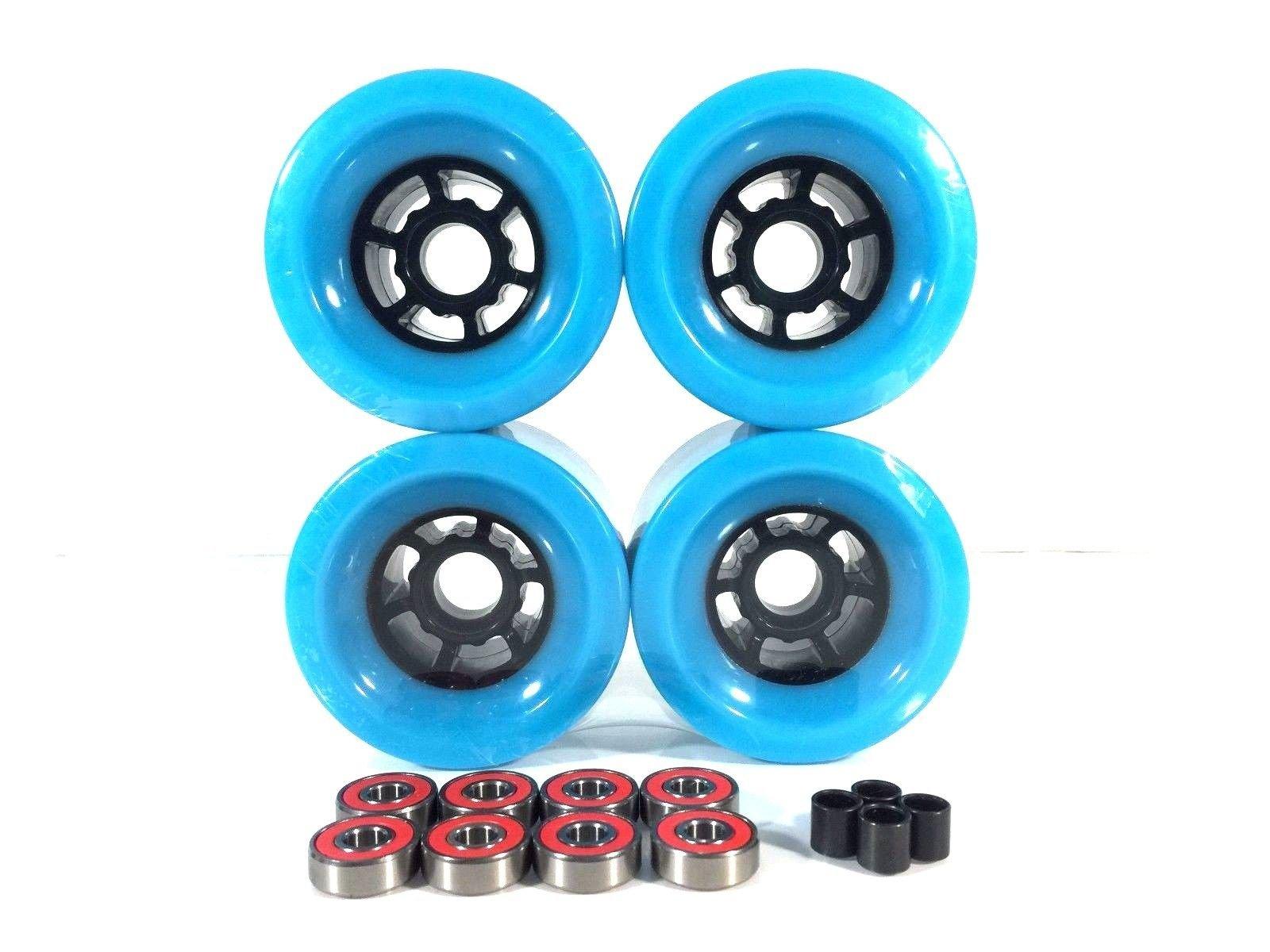 90mm Longboard Flywheels Wheels + ABEC 7 Bearings Spacers (Baby Blue) by Blank