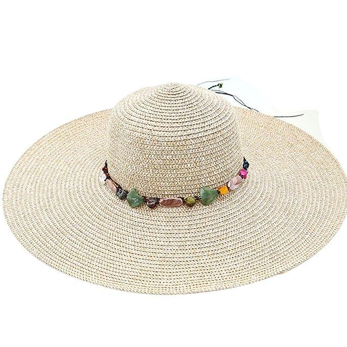 6cf00a57616b3 Tinksky Amplia borde gorras verano playa paja sombreros regalos de las  mujeres para las madres o
