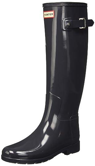 Hunter Original Refined Tall Gloss, Bottes en Caoutchouc Femme - Gris - Gris foncé,